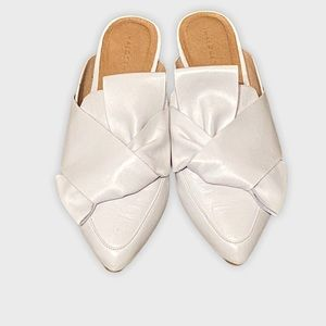 Halogen White Leather Pointe Toe Mules with Bow